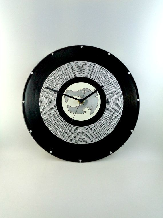 All Silver Vinyl Clock Hand Painted Upcycled by InsaneDotting