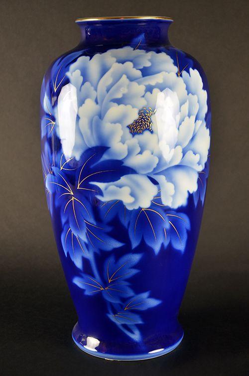 Fukagawa Japanese Porcelain Imperial Fine China Blue and White Hand-Painted Vase Peony Peonies