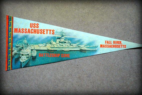 Pennant, flag, souvenir, Americana, USS Massachusetts, rustic, folk, wall hanging, vintage, kitsch, wall decor, art, unique, one-of-a-kind.