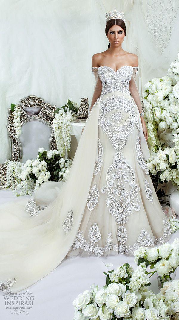 Dar Sara de novia 2016 vestidos de novia extravagantes un vestido de línea de la novia bordado adorno escote correa para el hombro