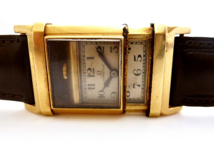 1930s Art Deco 14k Gold Omega Marine early waterproof watch.