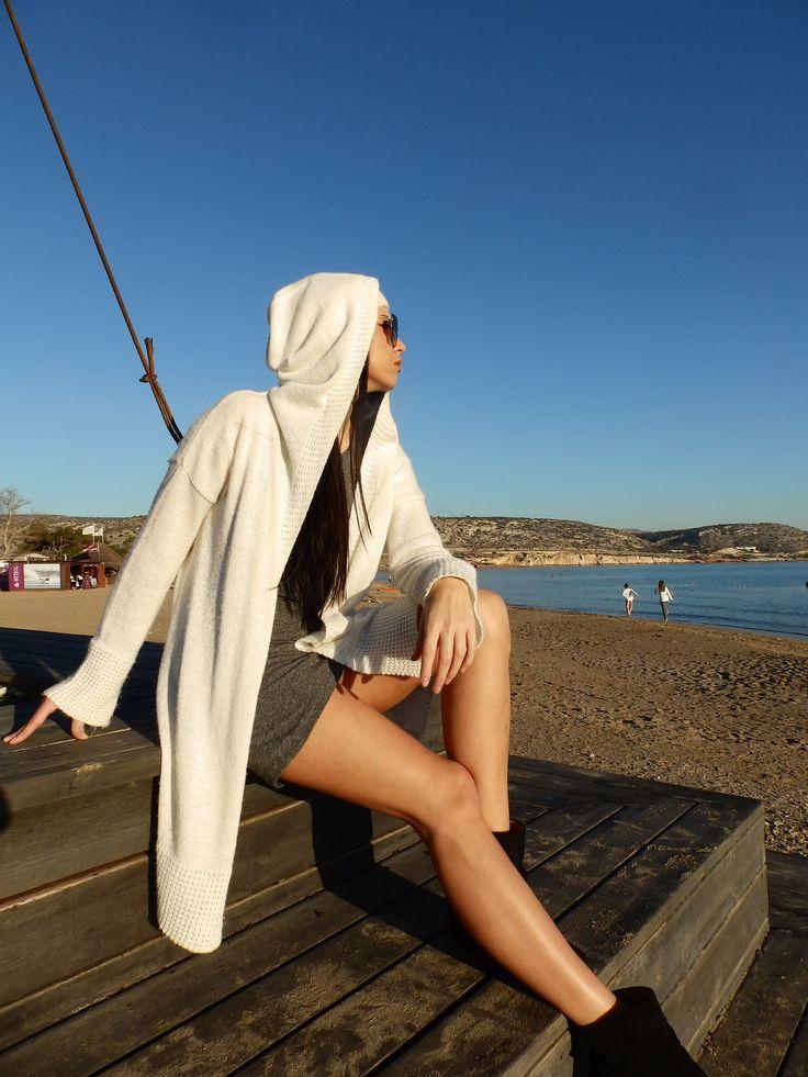 hood knit cartigan #greekknits #knitwear