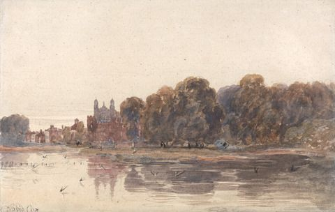 attributed to David Cox, 1783–1859, British, Eton from the Thames, early 19th century, Graphite, watercolor, scratching out on medium, moderately textured, cream wove paper, Yale Center for British Art, Paul Mellon Collection