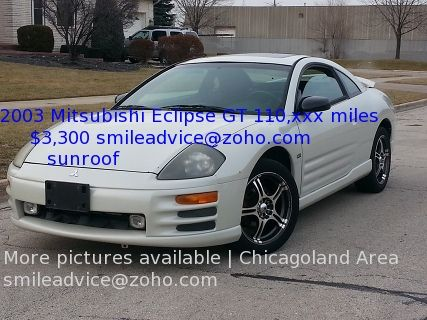 2003 Mitsubishi Eclipse GT $3,300 used cars for sale; automatic, sunroof, spoiler, Bridgeview Illinois 60455, Chicago Illinois January 2015