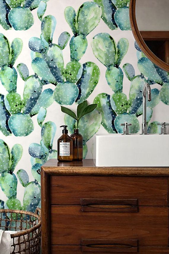 Watercolour Cactus Wallpaper/ Stunning Removable by Betapet