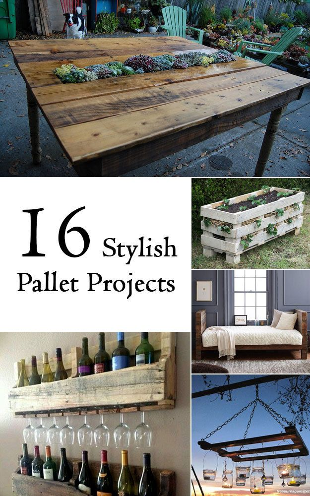16 Stylish Pallet Projects - everything from succulent tables, to dog beds, to sliding doors, and a strawberry planter! #pallets