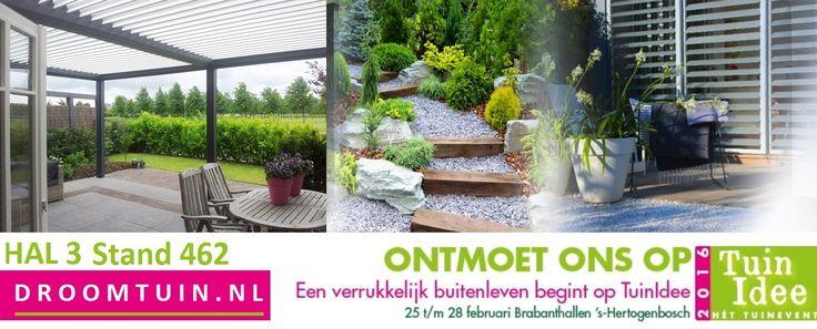 Ontmoet ons op het #tuinindee Hal 3 stand 462 met #droomtuin #zonwering #brustor Brustor B200 terrasoverkapping