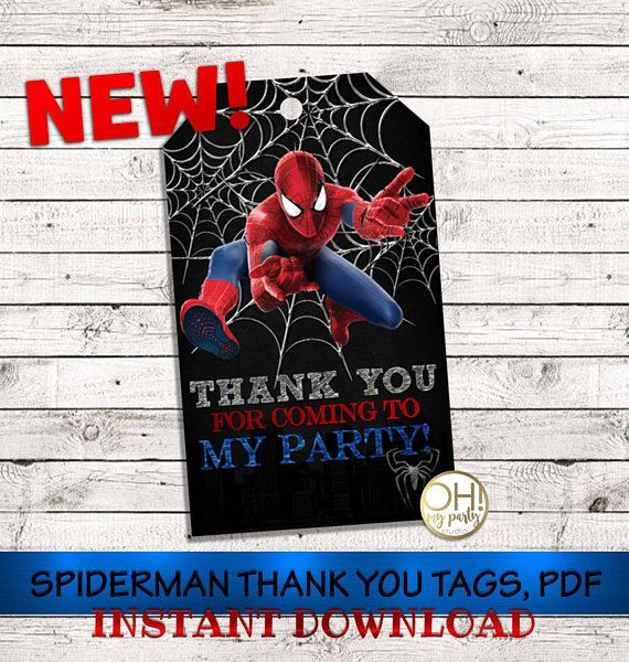 Spiderman THANK YOU TAGS, spiderman party, spiderman birthday, spiderman party supplies,spiderman instant download ,spiderman tags,spiderman This file is 100% DIGITAL so you can print at home or print center the amount you need. - Instant Download - The digital file format is PDF