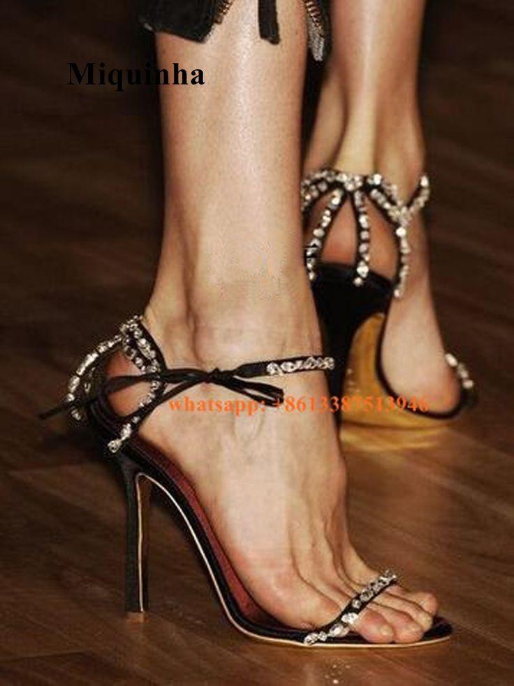 Sexy Chic Women's Leopard Rhinestones Slim High Heels Platform Sandals Slippers