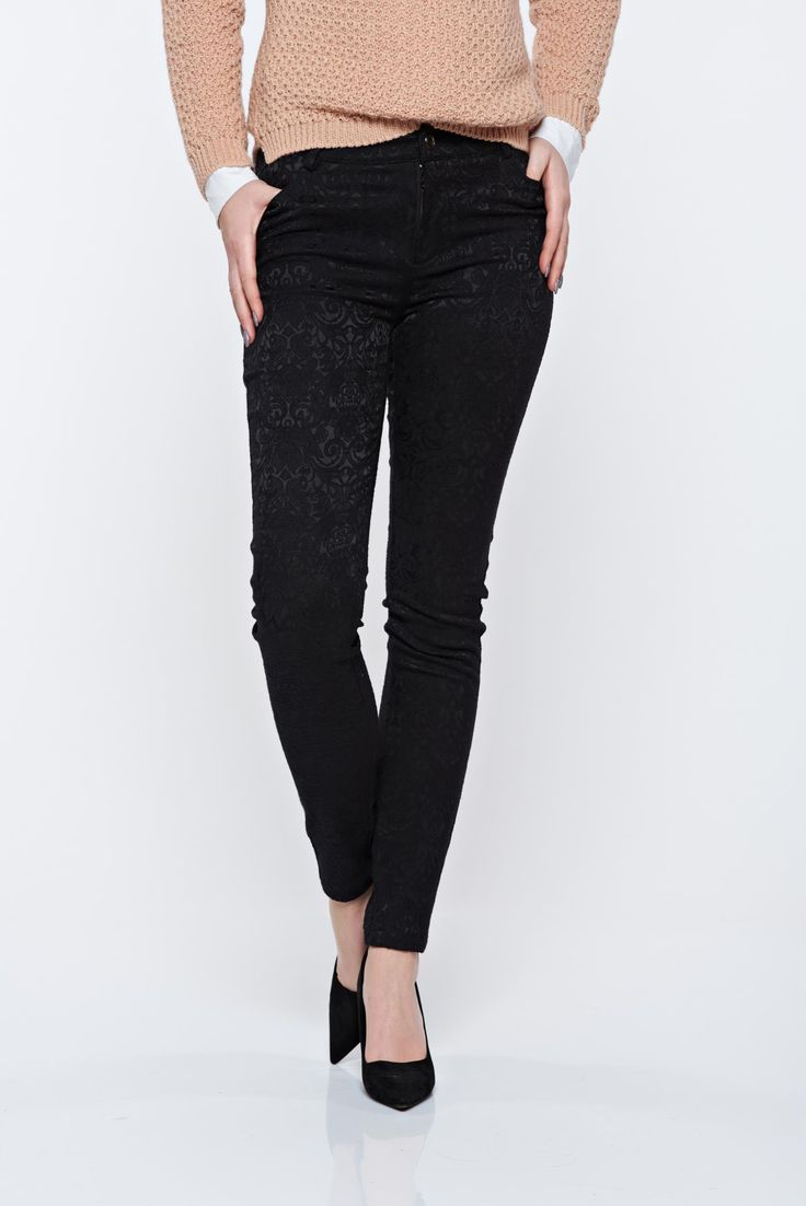 Top Secret black trousers elegant conical with medium waist, with pockets, elastic fabric, raised pattern, button and zipper fastening