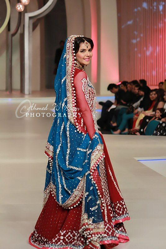 VERY NICE COLOR OF THE DUPATTA, AND CAN BE INCORPORTED INTO A MEHNDI DRESS  Sana Abbas Collection – Pakistan Bridal Couture Week 2013