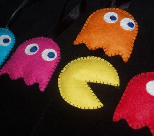 Pacman characters made from eco-friendly felt — felt made from recycled bottles.