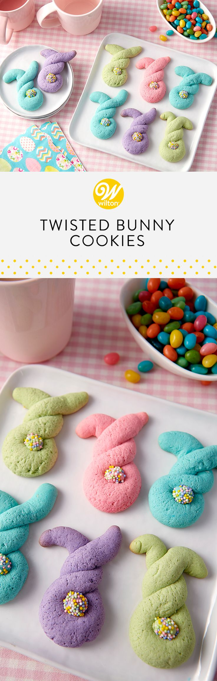Have fun shaping and baking these twisted bunny cookies. The spring colors and free-form shapes look great tucked in Easter baskets and displayed on the Easter dessert table #wiltoncakes #cookies #cookieideas #easter #easterbunny #bunny #eastercookies #easterideas #easterdesserts #bunnycookies