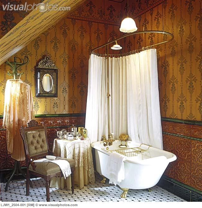 BATHROOMS: Victorian, Deep Tub, Gilded Claw Feet, Glazed Spanish Tile Dado,