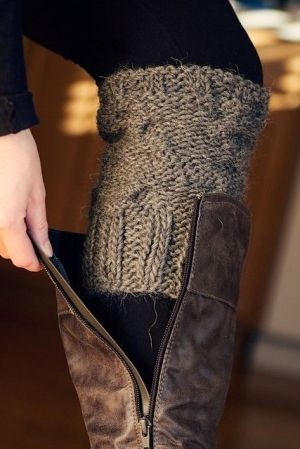 Faux Socks from old sweater sleeves to top your boots !! Great idea even to knit your own as well :) Great looks without the bulk !!