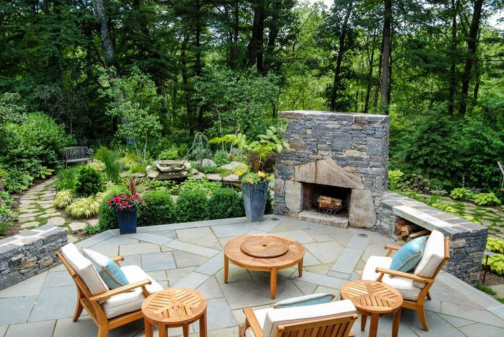 fireplace plants patio rustic with mixed traditional outdoor side tables