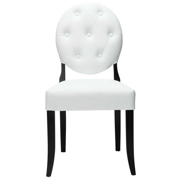 Awesome Modway Buttoned White Vinyl Black Legs Ghost Chair (Black Vinyl) (Foam) | Ghost  Chairs, White Vinyl And Legs