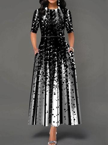 Round Neck Ankle-Length Half Sleeve A-Line Standard-Waist Dress