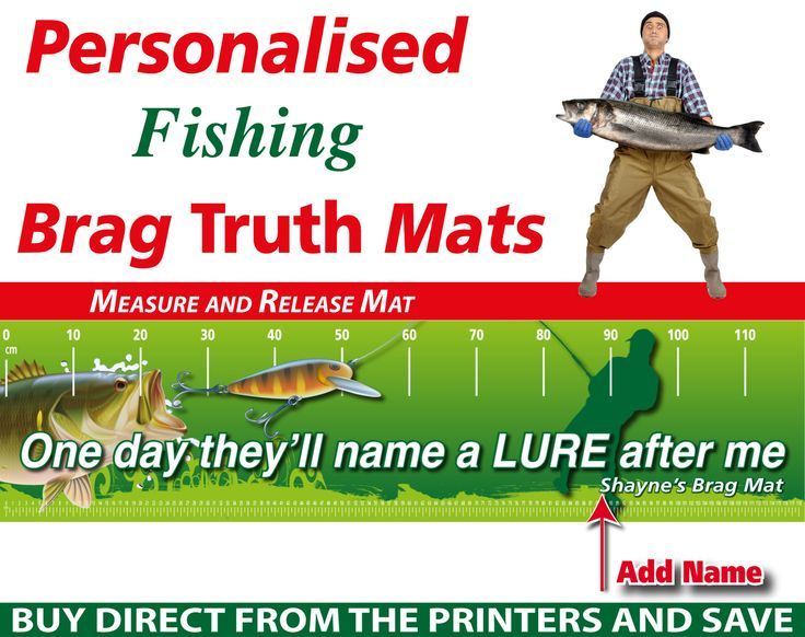 Wholesale Printers,  - Personalised Fishing Lure Brag Truth Measure and Release Mat, $19.95 (http://www.wholesaleprinters.com.au/personalised-fishing-lure-brag-truth-measure-and-release-mat/)