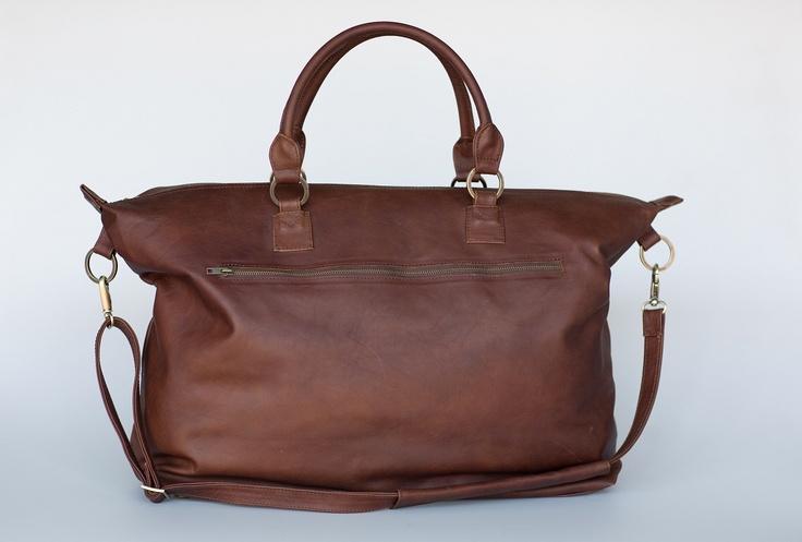 Mally brown leather weekender bag
