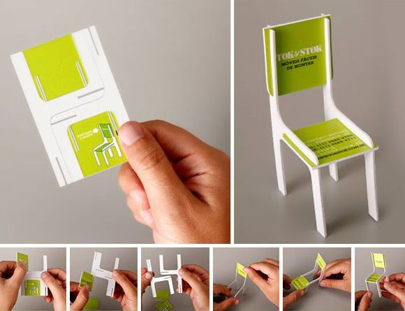 Business card that makes into a little chair. Want this!
