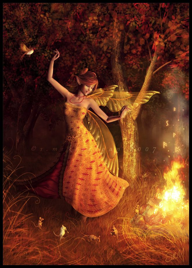 The Dance. Submitted by ktlady to fanpopBeautiful Fairies, Fantasy Artwork, Magic, Autumn Fairies, Fairies Art, Angels, Dance, Art Painting, Fire