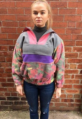 vintage+FLEECE+jumper+winter+small+8+10+multi-coloured+80s