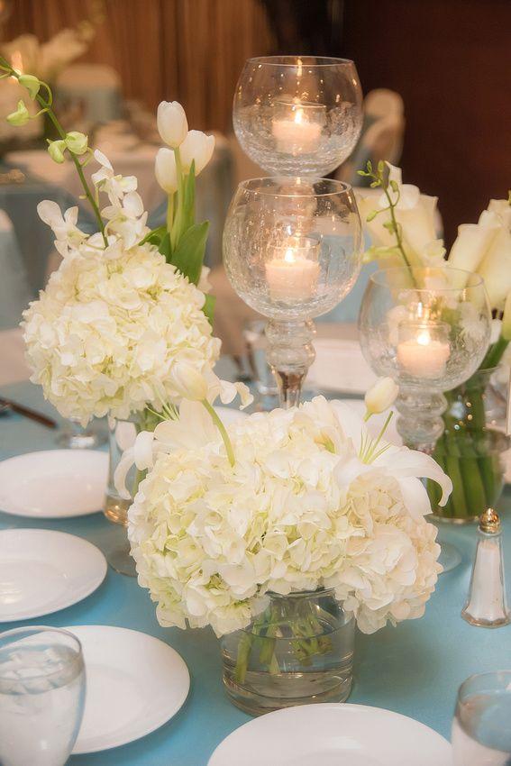 White three vase centerpiece