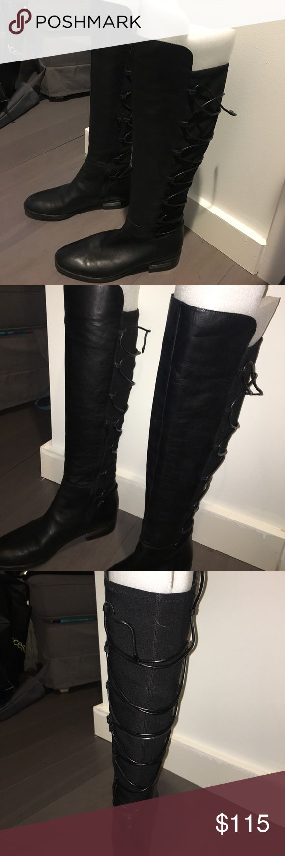 Vince Camuto Parle Stretch Boot This season's hottest Vince Camuto knee high boot! Currently sold out on the VC website, this pair has been worn once. Great for someone needing some extra stretch in the calf area- super cute criss cross tie design in back and riding boot look in the front. No trades, only cash offers, please! Vince Camuto Shoes Lace Up Boots