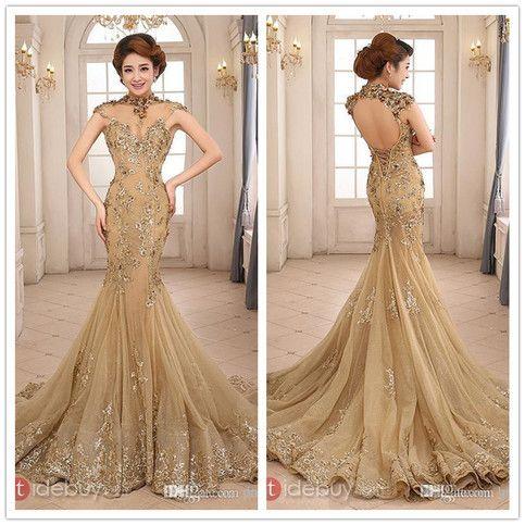 Gold Applique Wedding Dress Evening Dress Bridal Gown