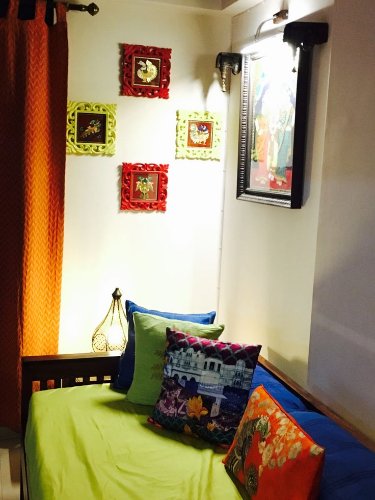 Love my house. A niche done in vibrant colours with Tanjore art adorning walls…