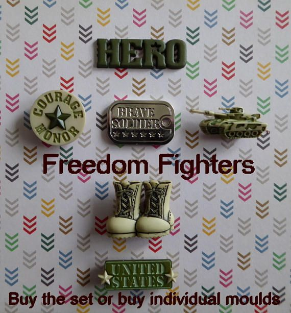 Word  HERO measures : 1 5/8 x 1/2 inch Courage Honor medallion measures: 1 inch in diam. Dog Tag measures: 1 1/4 x 7/8 inch Tank measures : 1 1/4 x 5/8 inch Combat Boots measure : 1 1/4 x 1 inch United State Plaque measures : 1 3/8 x 1/2 inch    ♥ Special Request ♥ Havent found what you were looking for in our shop ? We do accept special requests, just let us know and well do our very best to provide. ♥Product Description♥  This Flexible Mold was h...