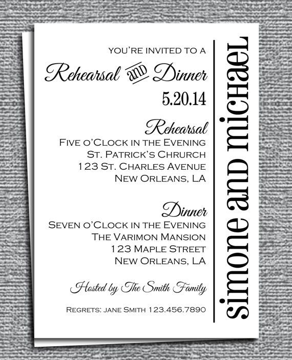 Rehearsal Dinner Invitation Printable Customized To Your Event Modern Chic On Etsy 15 00