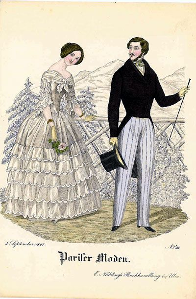 Fashion plate, 1847 Germany, Pariser Moden