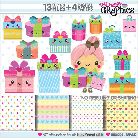 Gift Clipart, Gift Graphics, COMMERCIAL USE, Kawaii Clipart, Present Graphics, Gift Box Clipart, Planner Accessories, Box, Birthday, Party