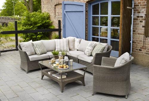 Salzburg – Nätt och smidig byggbar soffgrupp. Kombinera med bord i två olika storlekar eller med ett soffbord i teak! Utemöbler, trädgårdsmöbler, Outdoor furniture.