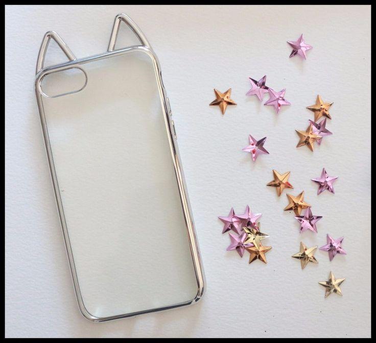 Coque Souple gris oreilles de chat cat ears iPhone 7 Plus 7+ silver girly chic