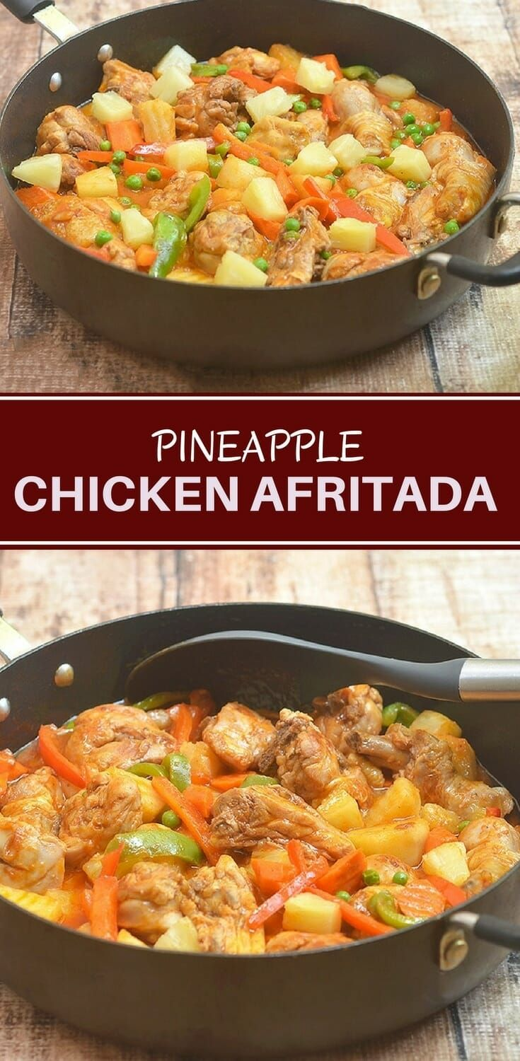 Pineapple Chicken Afritada is a delicious twist on a classic Filipino stew. With a rich tomato sauce, potatoes, carrots, bell peppers and a touch of sweetness from pineapples, it's hearty and delicious! #recipes #dinner #asianfood #filipinofood #chicken #pineapple #weeknightdinners