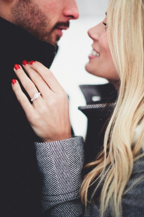 Engagement photo--on a side note, I'm obsessed with her jacket.