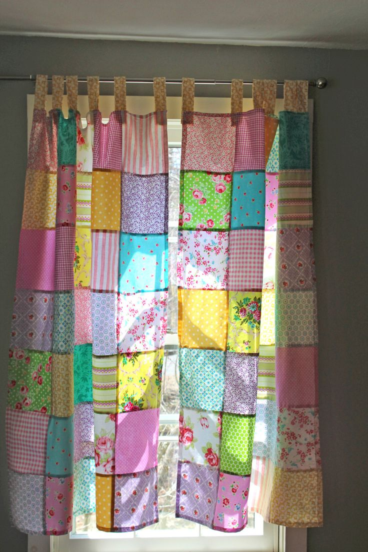 Shower curtain quilt pattern - Patchwork Curtains Set Of 2 Panels Boho By Scarlettscozycottage