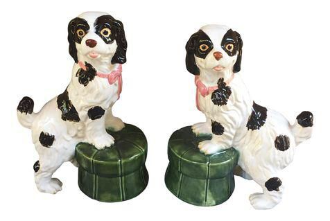 Majolica Style Staffordshire Dogs on Tufted Pillows - A Pair on Chairish.com
