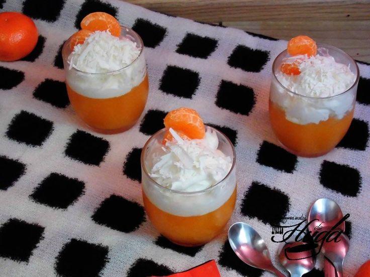 Gelatina de mandarina con mousse de chocolate blanco - Las mejores recetas de Huga