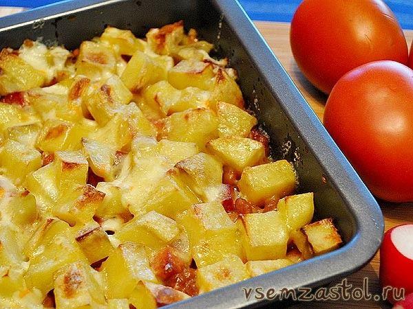 Запеканка (Ужин холостого мужчины) Картофель — 600 гр Сосиски - 1 пачка Фасоль в томате — 1 банка Сыр — 1 чашка