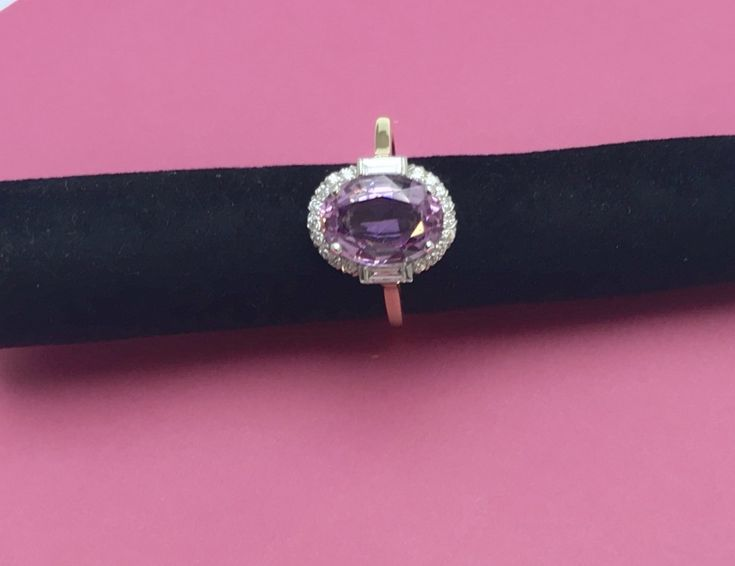 Pretty pink topaz and diamond ring priced at £1,975- why not pop in to see us and try it on?