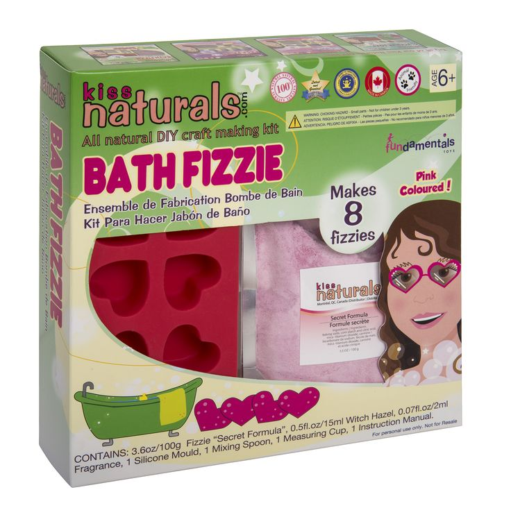 This Bath Fizz making kit by Kiss Naturals is a great NEW kind of educational toy. These all natural DIY kits are educational, environmentally friendly, natural and made in Canada! Take some time to have fun and learn how to make your own bath bombs! It makes 8, so you can show your friends! ! Large ($16.95) and Mini Kits ($10.95) available at: www.kissnatural.com
