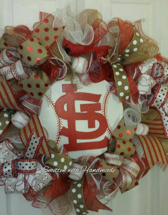 St Louis Cardinals Wreath St Louis by SmittenWithHandmade on Etsy