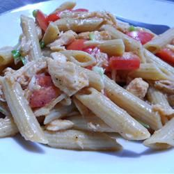 Tuna and Noodle Salad Light from Allrecipes.com - Tastes delicious with some modifications (less vinegar - because it'll get to soggy after awhile, less olive oil, added some cajun seasoning for spice and parmesan cheese sprinkled on top)