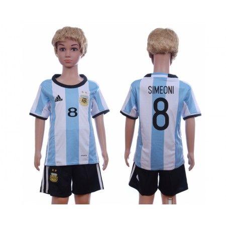 Argentina Trøje Børn 2016 #Simeoni 8 Hjemmebanetrøje Kort ærmer.199,62KR.shirtshopservice@gmail.com