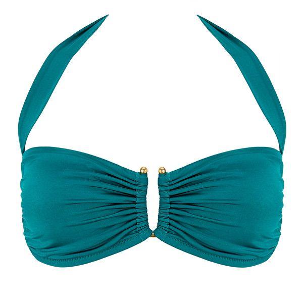Heidi Klein Costa Rica U-Bar Bikini Top ($45) ❤ liked on Polyvore featuring swimwear, bikinis, bikini tops, green, bandeau bikini top, green bikini, padded swimsuit tops, swimsuits tops and tankini tops