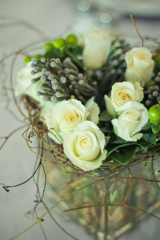 White roses, kol-kol and dodder with green hypericums....white with splashes of green and grey Flowers by Vergeet - My - Nie www.vergeetmynieflorist.co.za